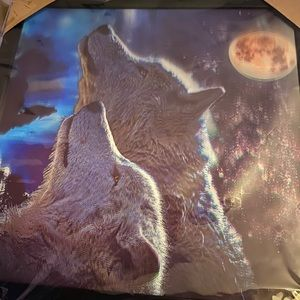3D effect wolves n moon picture